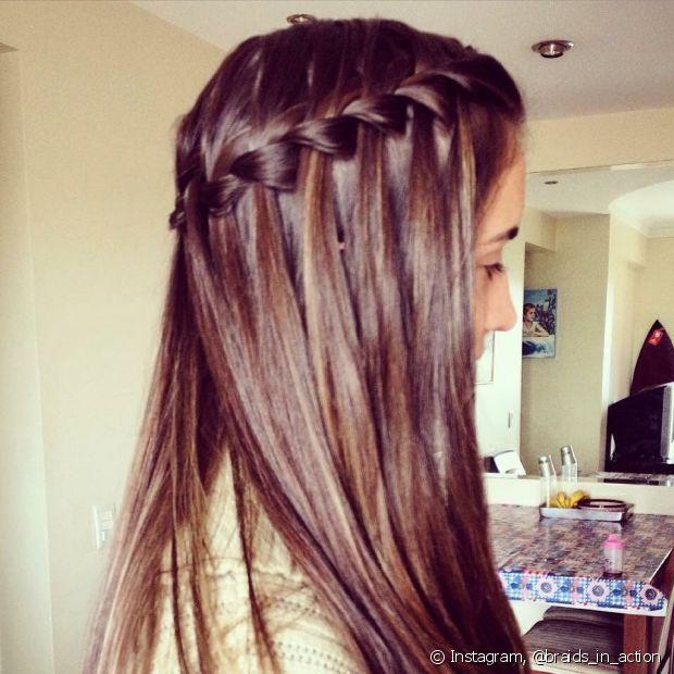 A trança cascata parece um penteado muito elaborado, mas é bem fácil de fazer