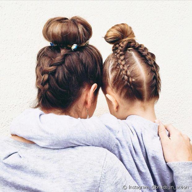 O coque com trança invertida é bem romântico e fica lindo para reproduzir no cabelo das crianças