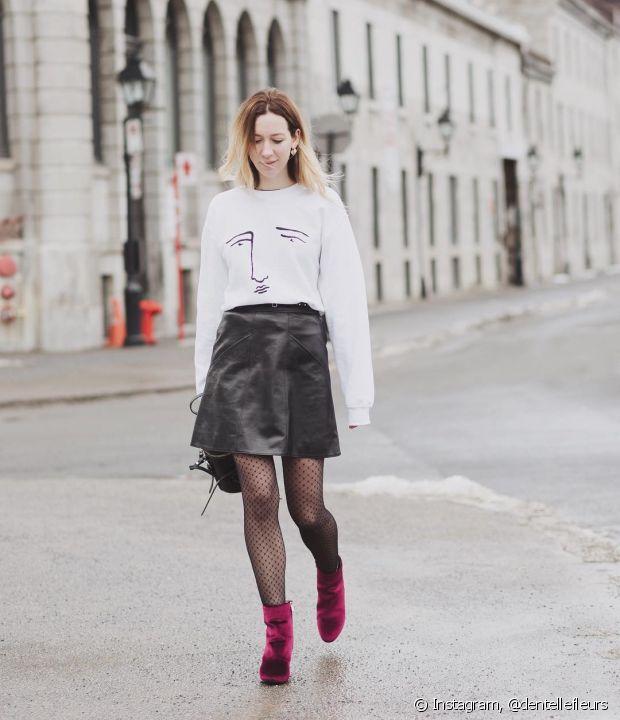 Meia-calça combina muito com a bota de veludo. Aposte nesse visual para se aquecer no inverno