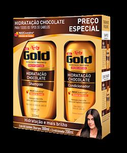 Kit Especial Niely Gold Hidratação Chocolate Shampoo Sem Sal 300ml + Condicionador 200ml
