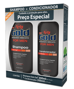 Kit Especial Niely Gold For Men Shampoo Sem Sal 300ml + Condicionador 200ml